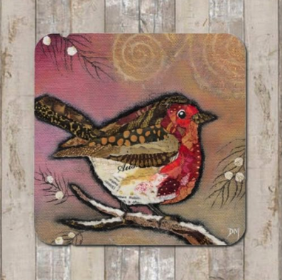 Coaster Robin on Blush by Dawn Maciocia