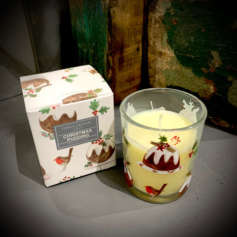 Gisela Graham Plum Pudding Boxed Candle Sml