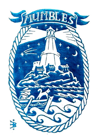 Mumbles Lighthouse in Blue Screen print sold on behalf of Emma Bissonnett