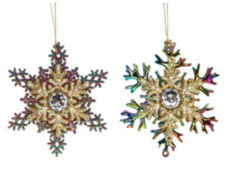 Multi Peacock/Gold Glitter Snowflake w Jewel