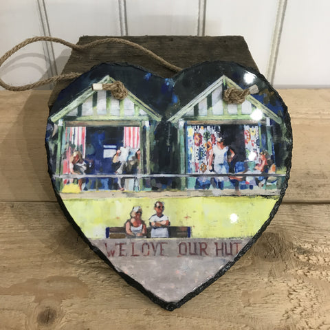 We Love Our Hut Hanging Heart Slate 20x20cm sold on behalf of Arwen Banning