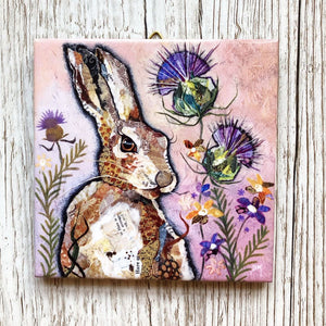 Hare and Thistle Mini Ceramic Art Tile by Dawn Maciocia