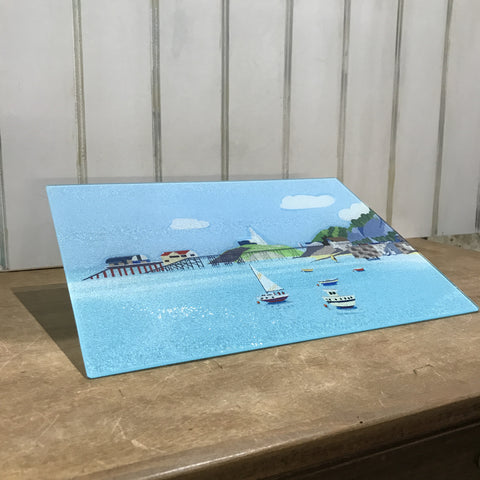 Mumbles Headland Glass Chopping Board sold on behalf of Noodle Design