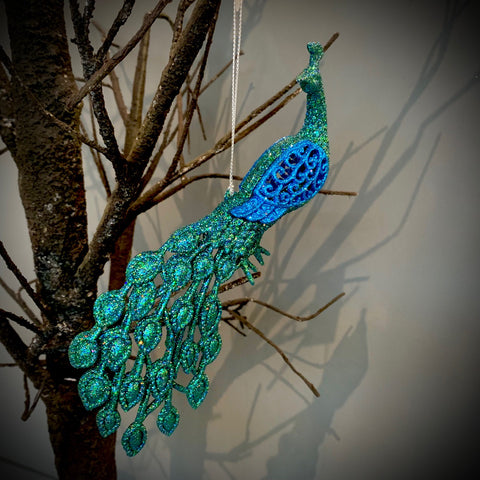 Glitter Moulded Peacock Decoration