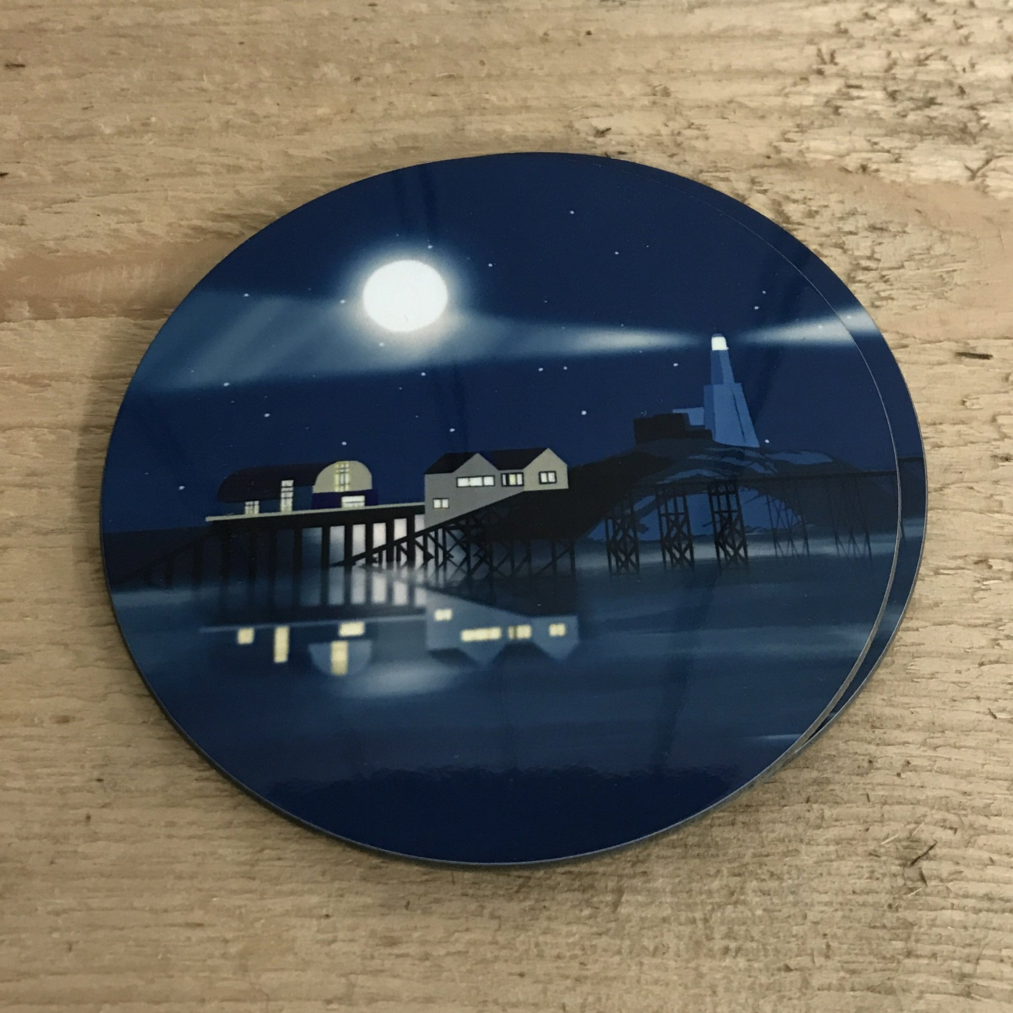 Mumbles Lighthouse Night Coaster RD 10cm