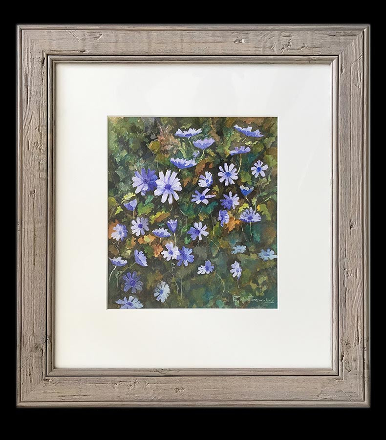 watercolour painting of corn flowers in a hedgerow