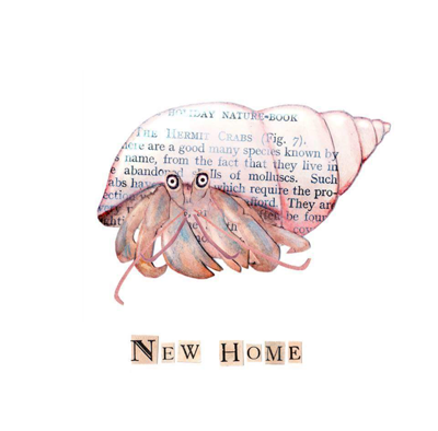 New home hermitGreetings Card by Rachel Biddulph