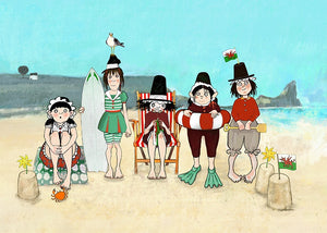 Day Trip Rhossili Welsh Ladies Giclee print sold on behalf of Odwen