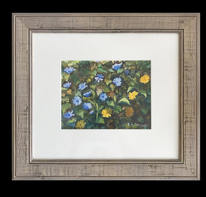 framed watercolour of blue and yellow flowers in a hedgerow by  Welsh artist R N Banning.