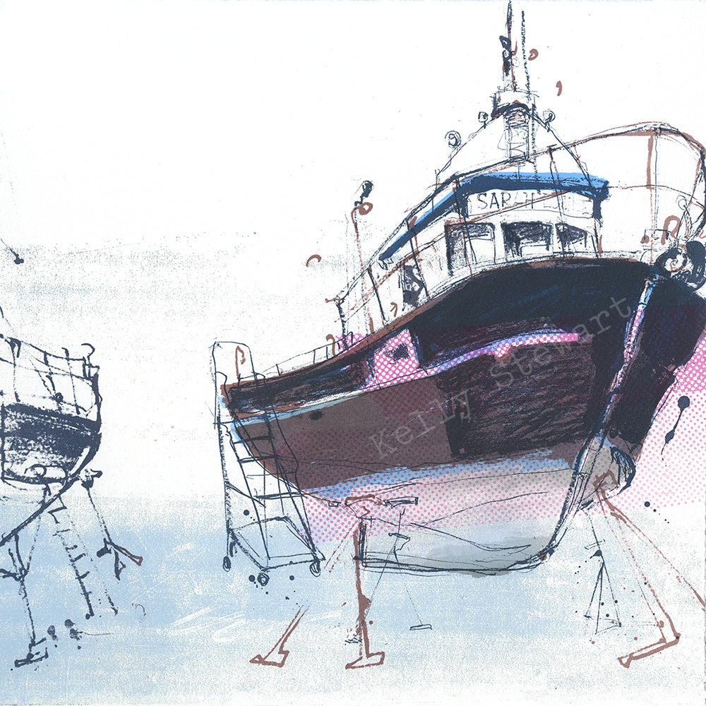 Sarah Jane Boats screen print sold on behalf of Kelly Stewart