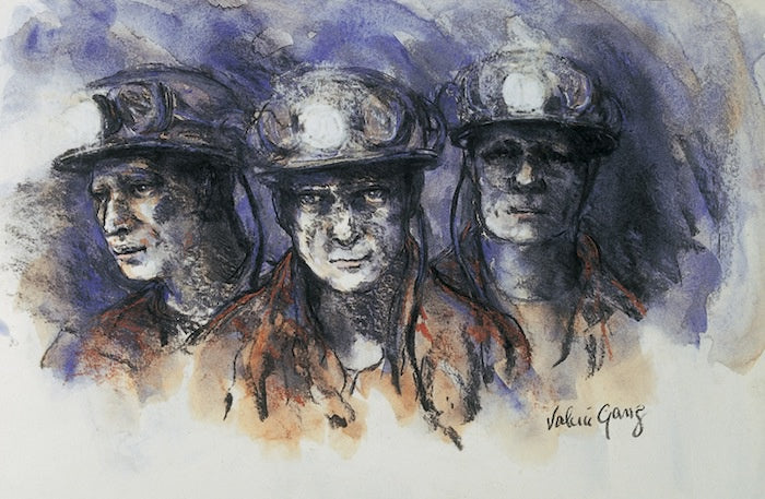 Three Miners 61 x 40 cm print Sold on Behalf of Valerie Ganz