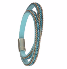 Bracelet  - Single Row Double Wrap Classic in Turquoise and Gold