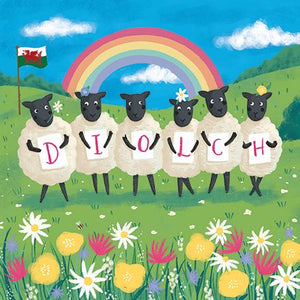 Diolch - Thanks  Rainbow Sheep Card - CAR119