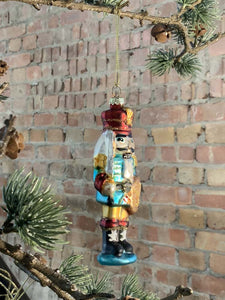 Painted Glass Nutcracker Tree Decoration
