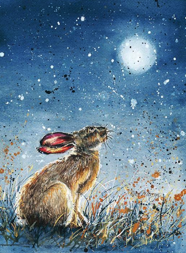 Heath Midnight Hare Canvas Cutie 15x20cm by Bree Merryn