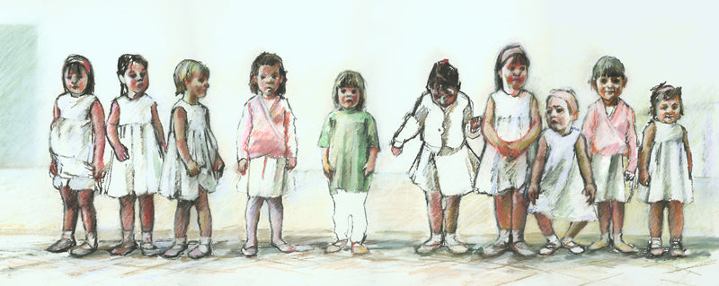Pastel drawing of a ballet class with a row of young girls one of whom is wearing a green t shirt instead of her ballet dress.