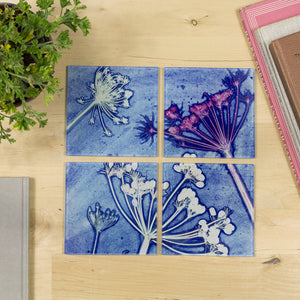 Blue Cow Parsley Set of Four Glass Coasters
