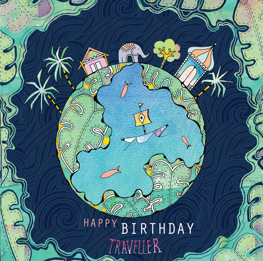 World Traveller Birthday Card by Hannah Davies