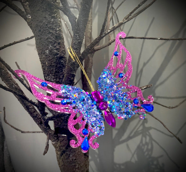 Purple or Blue Glitter Butterfly with Jewels On Clip