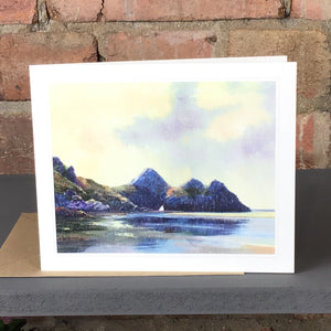 EARLY MORNING THREE CLIFFS GREETINGS CARD SOLD ON BEHALF OF R N BANNING