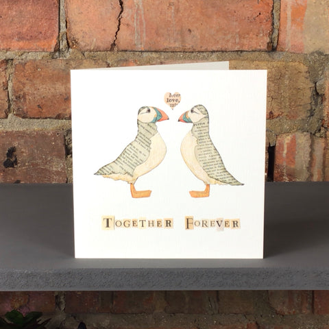 Together Forever Puffins Greetings Card by Rachel Biddulph