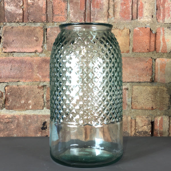 Recycled Diamond Tall Glass Vase