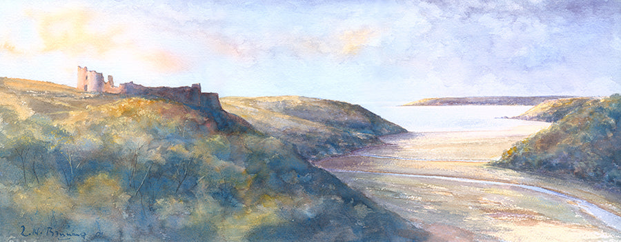 Pennard Castle to Oxwich Head Long Print sold on behalf of R N Banning