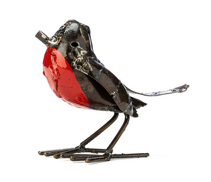 Metal robin sculpture with a bronze coloured body and red chest..