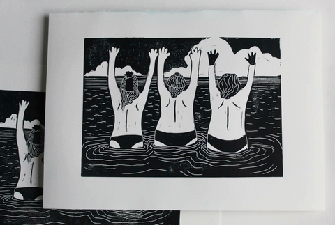 Tits to the Wind Linocut Print Sold on Behalf of Phillippa Walter