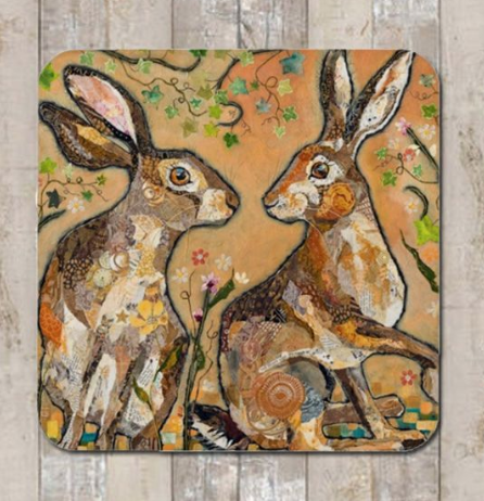 Coaster Hares Looking at You by Dawn Maciocia