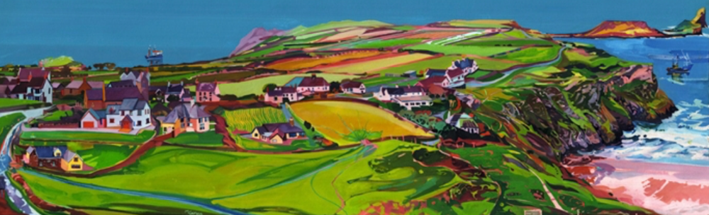 Print of Worm's Head Rhossili Bay painted in bright colours by Michelle Scragg.