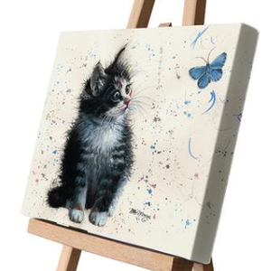 Poppy Black Cat and Butterfly Canvas Cutie 15 x 20cm by Bree Merryn