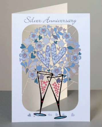 Silver Anniversary Glasses and Hearts Card