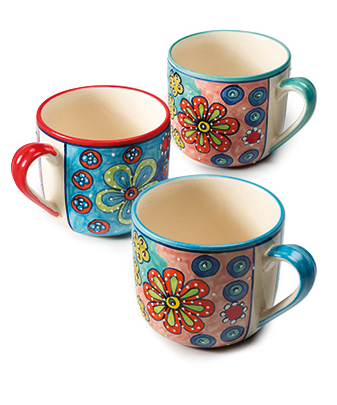 Large ceramic mug with a colourful handpainted daisy design.