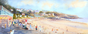 watercolour painting of a sunny day at Langland Bay with beach huts and people on the promenade and the sand.