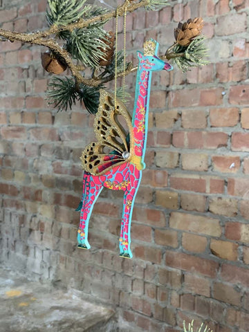 Fretwork Wood Giraffe Decoration