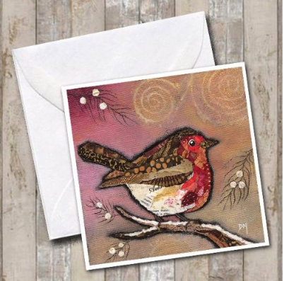 Xmas Robin on Blush DMC295 Greetings Card by Dawn Maciocia
