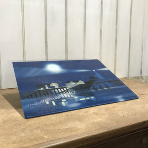 Mumbles Lighthouse Night Glass Chopping Board sold on behalf of Noodle Design