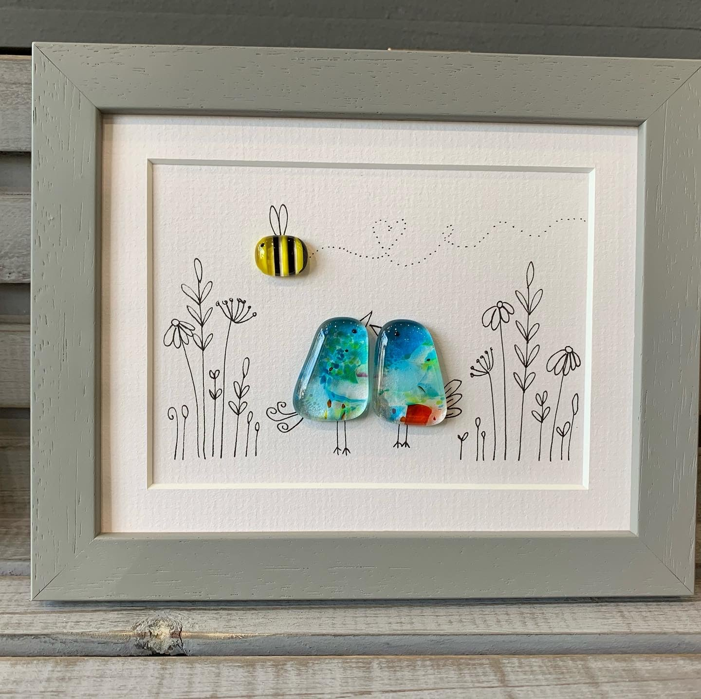 Medium birdy two fused glass birds and a bee Framed  sold on behalf of the artist