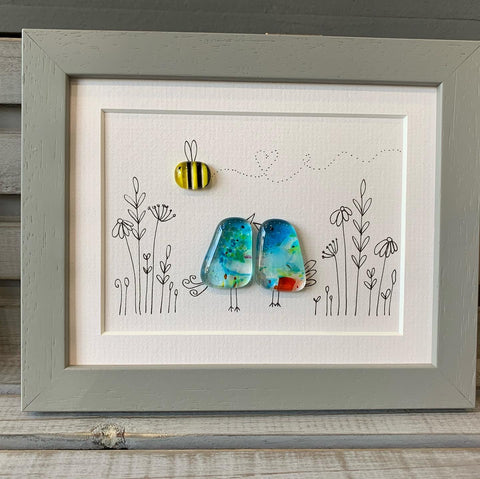 Medium birdy, two fused glass birds and a bee Framed  sold on behalf of the artist