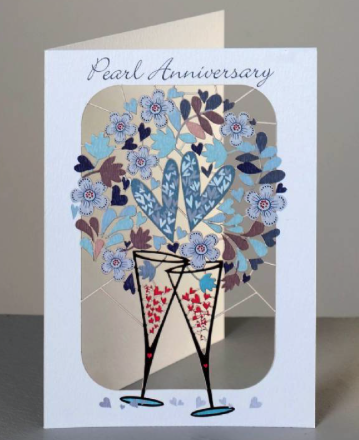 Pearl Anniversary Glasses and Hearts Card