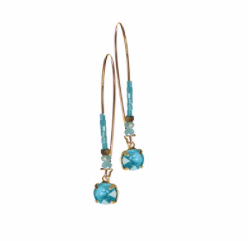 Earrings - Crystal drop on Elongated Beaded Hook - Turquoise and Gold