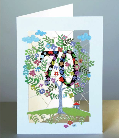 seventieth birthday card with a flowery tree cut out of the card