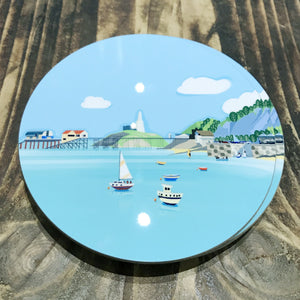 1 Mumbles Headland Coaster RD 10cm sold on behalf of Noodle Design