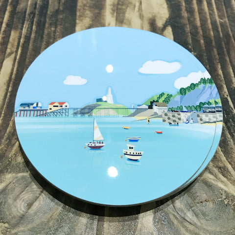 Mumbles Headland Coaster RD 10cm sold on behalf of Noodle Design