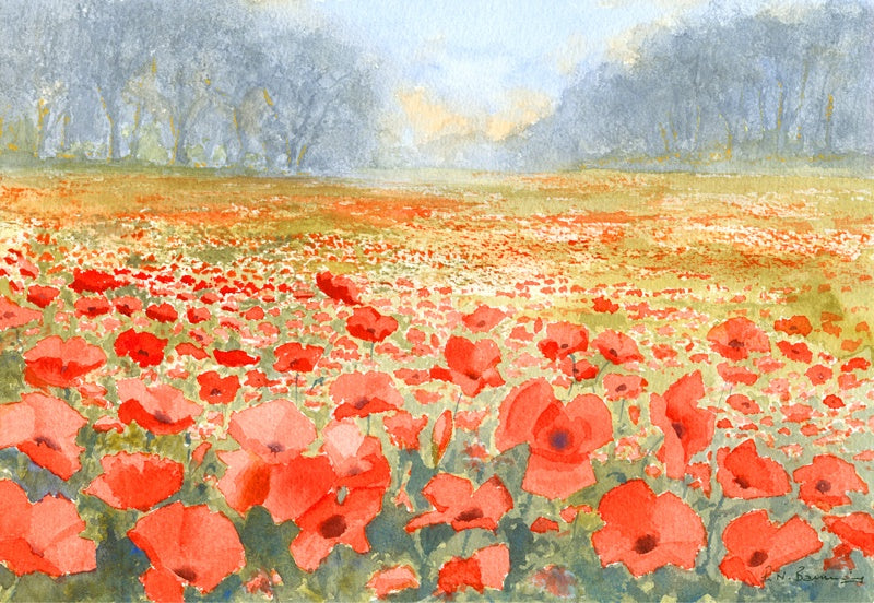 Look at Us (poppies) Square Print sold on behalf of R N Banning