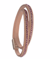 Bracelet - Single Row Double Wrap Classic - Lilac Rose/Gold
