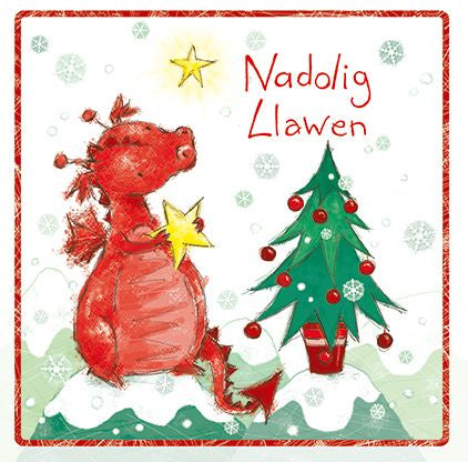 Nadolig Llawen 'Merry Christmas' Delwyn with Christmas Tree and Star Card