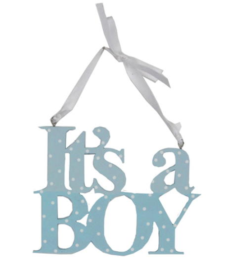 Blue Wood It's a Boy Hanging Decoration