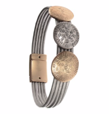 Bracelet - Triple Discus on Leather Cord - Gold/Silver/Grey